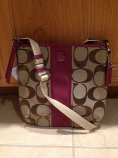 Coach Signature Stripe Duffle Khaki Mulberry Shoulder Crossbody Bag F21905 | eBay