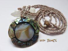 Collier Abalone Nacre Ormeau Coquillage Haliotis, Forme Fleur, Bijoux Zen Boutik, Collier Zen : Collier par zenboutik