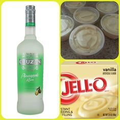 Pineapple Whip Pudding Shots 1 small Pkg. vanilla instant pudding ¾ Cup Milk 3/4 Cup Pineapple Rum 8oz tub Cool Whip Directions 1. Whisk together the milk, liquor, and instant pudding mix in a bowl until combined. 2. Add cool whip a little at a time with whisk. 3.Spoon the pudding mixture into shot glasses, disposable shot cups or 1 or 2 ounce cups with lids. Place in freezer for at least 2 hours