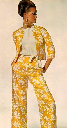 Veruschka for Vogue, January 1965  - yellow & white floral suit + white top  #1960s fashion