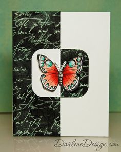 handmade card: Chalkboard Butterfly ... like the black and white contrast panels ....