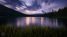 Summer Dusk by Alex Noriega, via 500px    A 2-minute exposure taken almost an hour after sunset. I light-painted the grass with my headlamp. Mount Hood, Oregon, Trillium Lake, etc. Popped over here to try out the new D7000 and Nikkor 12-24mm f/4 combo.
