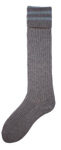 Women's Wool Cashmere Knee High Fold Over Rib Grey Heather Socks