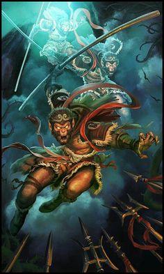 Pin by Haryram Suppiah on Monkey god Los Primates, Character Art, Character Design, Chinese Mythology, Journey To The West, Art Anime, Samurai Art, King Art, Monkey King
