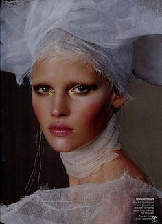 Lara Stone.  Makeup by Pat McGrath.