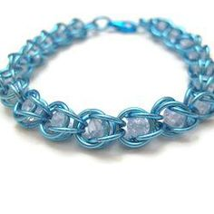 Bright Icy Blue Boxed Crystal Chainmaille Bracelet