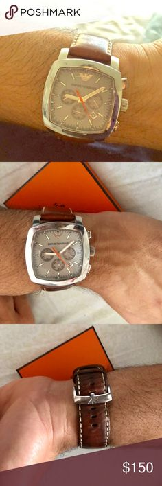 Emporio Armani men's watch model AR 5816 Stunning watch for men with strong personality very good condition the leather has some marks on it but still looks good! Great watch Emporio Armani Accessories Watches