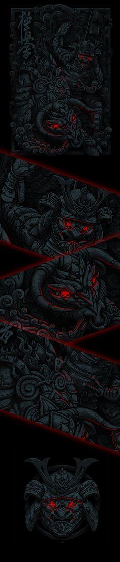 Battle demons samurai, Иллюстрация © Олег Герт ★ Find more at http://www.pinterest.com/competing/