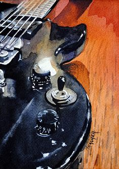 Painting of a black Epiphone electric guitar. Perfect for your man cave or musician. Original by Spencer Meagher. Prints from Fine Art America. Guitar Drawing, Guitar Painting, Guitar Art, Acrylic Wall Art, Painting Still Life, Outdoor Art, Abstract Oil, Art Music, Watercolor Paintings