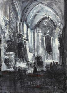 Jakub Špaňhel (Czech, b. 1976), Po mši v Předklášteří [After Mass in Předklášteří], 2003. Acrylic and oil on canvas, 220 x 160 cm.