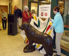 Unveiling of a Statue of Seaman, a Newfoundland Dog Who Accompanied Lewis and Clark, at the Lewis & Clark Interpretive Center in Great Falls, MT.