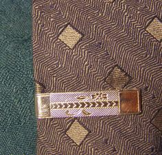 a520b7f751bb Items similar to Mid Century wide Tie Clip w diamond-plate texture, Chevron  Arrows and Vine Flower design Tie Bar, gold Finish vintage mens Fashion  Jewelry ...