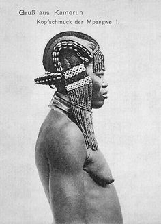 """""""Greetings from Cameroon ~ The head adornment of the Mpangwe 