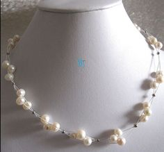 """Huij 002017 18 """"6-8mm witte zoetwaterparels 3Row white wire ketting(China (Mainland))"""