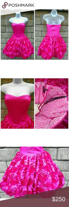 Betsey Johnson Pink Rose Topiary Dress, Size 6 OWN A PIECE OF BETSEY JOHNSON TIME CAPSULE FASHION HISTORY WITH THIS BETSEY JOHNSON ROSE TOPIARY DRESS! BRIGHT PINK SPECIAL OCCASION DRESS IN SIZE 6. STRAPLESS, SWEETHEART NECKLINE WITH FORM FITTED BODICE THAT EXPLODES WITH COUNTLESS PINK ROSETTES THAT CREATE A DRESS THAT EVERYONE WILL BE TALKING ABOUT THIS DRESS! THERE ARE PINK SATIN SHOULDER STRAPS THAT I HAVE PINNED INSIDE THE DRESS. YOU CAN WEAR THE DRESS WITH THEM OR AS A STRAPLESS DRESS…