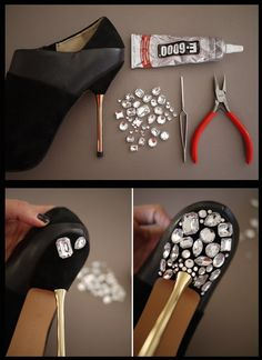 DIY Jeweled Heels - #DiyShoes, #Heels - diy fashion projects