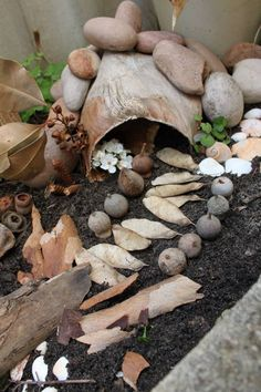 Loose parts in the outdoors - A fallen palm leaf and a few river stones made the gnome home. Leaves and gum nuts made the garden path. - This Little Family Daycare ≈≈ http://www.pinterest.com/kinderooacademy/loose-parts/