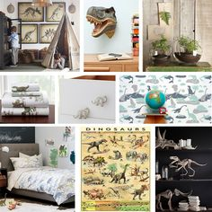 This awesome kids room mood board is inspired by Jurassic Park as well as a vintage dinosaur feel. Kids will always love dinosaurs!
