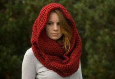 cuello con capucha a crochet
