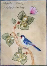 Resultado de imagen de Bird flower blue ocher illustration
