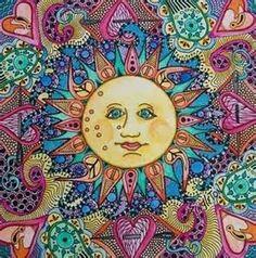 Peace / Love / hippie / Happiness / Dream Catcher / Art / Free / Flower / Hope / Moon / Universe / Light / Tattoo / Sky / Yoga / Meditation / Colors / Green / Day and Night Sun Moon Stars, Sun And Stars, Doodle Art, Good Day Sunshine, Sun Designs, Sun Art, Hippie Art, Hippie Vibes, Moon Design
