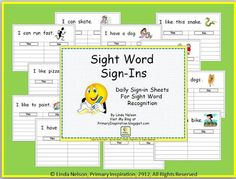 Sight Word Sign-ins - Free Templates!
