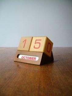Mid Century Perpetual Calendar Wooden Blocks