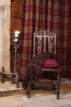 Need some tartan curtains for our highland themed living room! Tartan Decor, Tartan Plaid, Tartan Curtains, Front Room Decor, Medieval, Log Cabin Living, Made To Measure Curtains, Living Styles, New Living Room