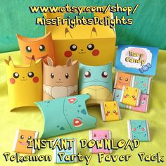 Pokemon Inspired Party Pack - Instant Download Printable - Favour Treat Set - Pillow Box Gable Box Chocolate Wrappers Treat Bag - Pikachu by MissFrightsDelights on Etsy https://www.etsy.com/listing/231931446/pokemon-inspired-party-pack-instant