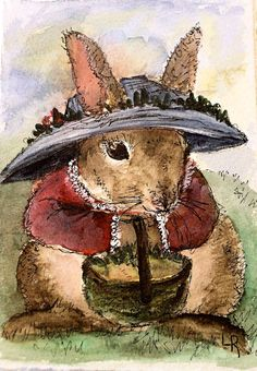 Watercolor Painting Original Illustration Bunny by BetweenTheWeeds,Visit my etsy shop for more art. http://BetweenTheWeeds.etsy.com