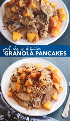 Peach Almond Butter Granola Pancakes by init4thelongrun: Yum. #Pancakes #Peach #Almond_Butter #Granola #Healthy