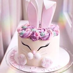 Renshaw's White Rabbit Cake Recipe Bunny Birthday Cake, Easter Bunny Cake, Easter Cupcakes, Bunny Cakes, Sweet Cakes, Cute Cakes, Beautiful Cakes, Amazing Cakes, Gateau Baby Shower