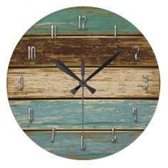 """Colorful Driftwood Wall Clock ~ 10"""" diameter acrylic. Available in 8"""" diameter and 10"""" square sizes also."""