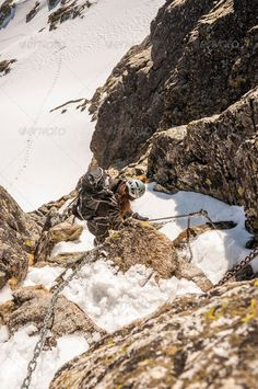 Tourist on the Via Ferrata (Iron Road) - Stock Photo - Images