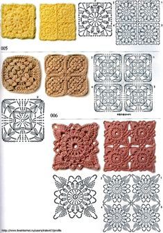 It is a website for handmade creations,with free patterns for croshet and knitting , in many techniques & designs. Crochet Stitches Chart, Crochet Motifs, Crochet Quilt, Crochet Tablecloth, Crochet Diagram, Crochet Squares, Crochet Granny, Crochet Flowers, Crochet Lace