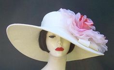 """Ivory 6"""" Brim/XL Apricot Rose by HAT-A-TUDE for the Derby!"""