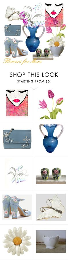 Flowers for Mom by plumsandhoneyvintage on Polyvore featuring interior, interiors, interior design, home, home decor, interior decorating, Oliver Gal Artist Co., MICHAEL Michael Kors, Coalport and MothersDay