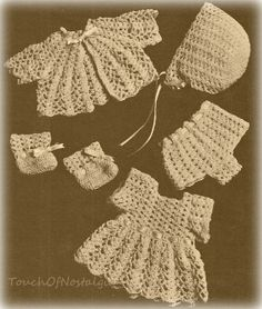 "DOLL CLOTHES Crochet Pattern Vintage - LACY Doll Clothes Set Dress Coat Bonnet  - Fits 14"" Doll  / Great Gift Idea"