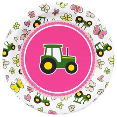 Pink John Deere party plates-for the girls