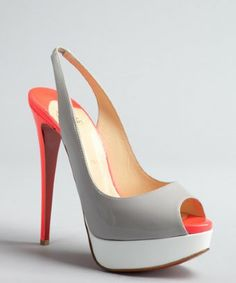Christian Louboutin grey and florescent pink patent 'Lady Peep 150' platform slingbacks