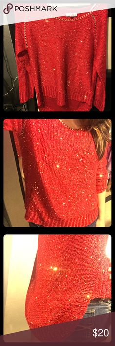 Agaci Store Red Sequin Sweater ❤️ 💐S P R I N G • C L E A N I N G 💐 BRAND NEW w/o tags. Never worn. Bought for Christmas but didn't get a chance to wear it. Very festive red and gold with sparkle! Sequins and chain detail. Longer in the back. Agaci Store Sweaters Crew & Scoop Necks