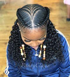 African Braids with Loose Curly Hair Afrikanische Zöpfe mit lockigem lockigem Haar Two Braid Hairstyles, Braided Hairstyles For Black Women, African Braids Hairstyles, Braids For Black Hair, Black Hairstyles, African Braids Styles, Teenage Hairstyles, Trendy Hairstyles, African Hair Braiding