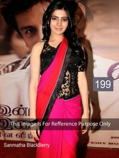 Samantha In Pink & Orange Shaded Saree by Vendorvilla.com