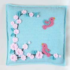 Crochet Pattern for Pillow cover with bird and door Stitchykits