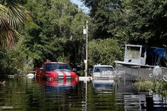 Homes and vehicles sit in several feet of water left behind by the storm surge associated with Hurricane Hermine which made landfall overnight in the area on September 2, 2016 in St. Marks, Florida. Hermine made landfall as a Category 1 hurricane but has weakened back to a tropical storm.