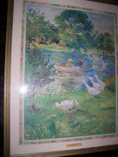 Beautiful Art Print -GIRL IN BOAT WITH GEESE - framed  29.5x23.5