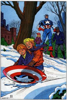 When Captain America slides on his mighty shield / All the neighborhood kids come out in the field...    Art by Kerry Gammill
