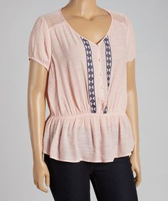 Look what I found on #zulily! Peach Mesh-Back Peplum Blouse - Plus by Mine Too #zulilyfinds