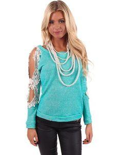 Turquoise Crochet Detail Sleeve Top reg.$38.99 NOW $19.95
