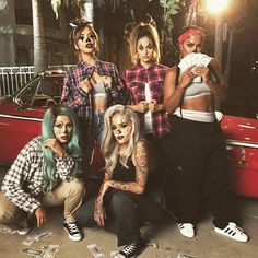 Come hang w us!  Behind the scenes from yesterday's shoot! Gangster Clown Pt. II coming to a small screen near you, get ready! @iluvsarahii @christendominique @makeupshayla @lora_arellano